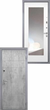 Стальная входная дверь Интекрон Спарта Грей Зеркало ФЛЗ-М белая матовая