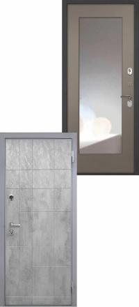 Стальная входная дверь Интекрон Спарта Грей Зеркало ФЛЗ-М силк муссон