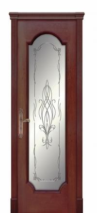 Межкомнатная дверь Дариано Женева F Красное дерево со стеклом